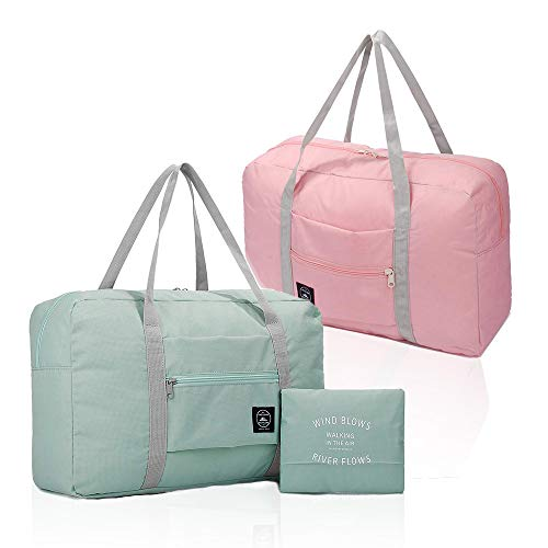 (2 Pack) Foldable Travel Duffel Bag, Waterproof Carry On Luggage Bag, Lightweight Travel Luggage Bag for Sports, Gym, Vacation (Light blue & Light pink)