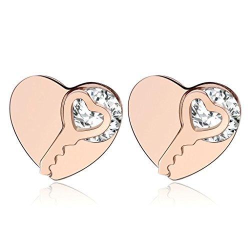 KnBoB Stainless Steel Earrings for Women Heart Key Cubic Zirconia Stud Earrings Rose - Micheal Baby Kors