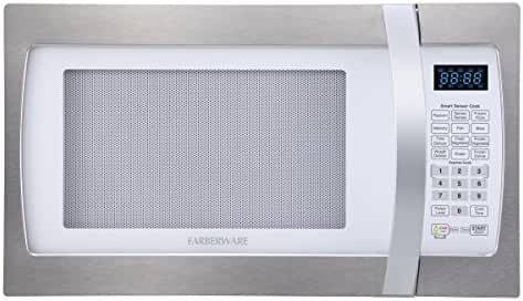 Farberware Professional FMO13AHTPLE 1.3 Cubic Foot 1100-Watt Microwave Oven with Sensor Cooking, White/Platinum