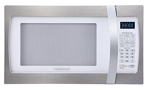 Farberware FMO13AHTPLE 1.3 Cu. Ft. 1100-Watt Microwave Oven with Smart Sensor Cooking, ECO Mode and LED Lighting, White and Platinum (Emerson Stainless Steel Microwave 1-3 Cu Ft)