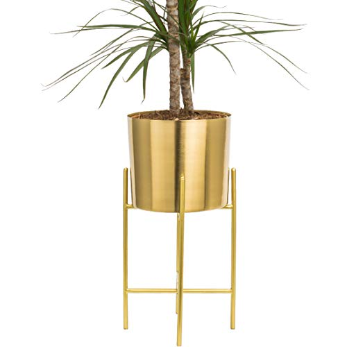 Modern Mid Century Brass Gold Planter with Gold Stand | 7 Inch Large Planter Pot with Metal Stand | Flower Pot Living Room Decor | For Orchid, Aloe, Large Cactus Plants | 16 inch Tall | Indoor