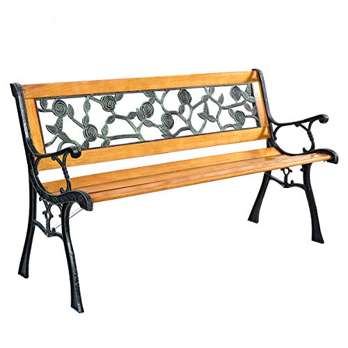 (Giantex 50'' Patio Park Garden Bench, Outdoor Furniture Rose Cast Iron Hardwood Frame Porch Loveseat for 2 Person Outdoor)