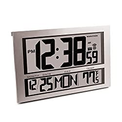 Marathon CL030025 Commercial Grade Jumbo Atomic Wall Clock with 6 Time Zones, Indoor Temperature & Date (Silver)