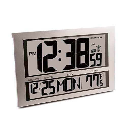 Marathon CL030025 Commercial Grade Jumbo Atomic Wall Clock with 6 Time Zones, Indoor Temperature & Date, Color-Silver.