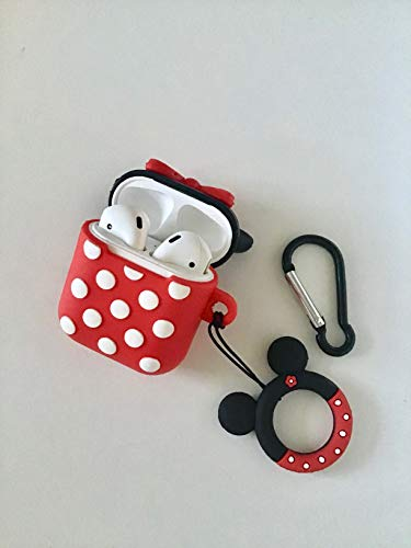 ZHcollect Minnie Mouse Case Cover for AirPods (1&2), AirPods Case Cover with Ring Strap Holder, AirPods Case Cover with Key Chain Holder, Cartoon 3D Design.