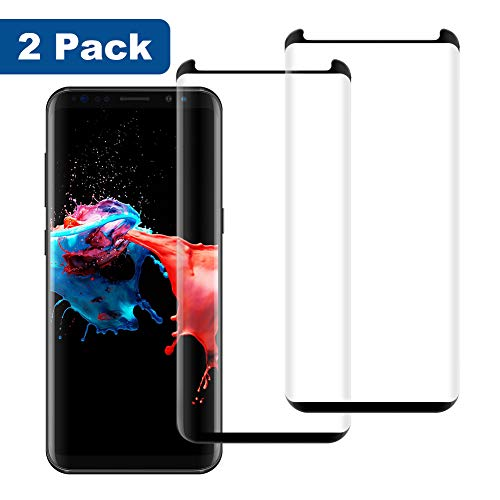 [2 Pack] Galaxy S8 Glass Screen Protector Premium 9H Hardness Anti-Scratch Full Coverage Tempered Glass Screen Protector Film for Samsung Galaxy S8-Black (Best Samsung S8 Screen Protector)