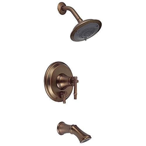Distressed Bronze Tub - Danze D500045RBDT South Sea Single Handle Tub and Shower Faucet Trim Kit with 6-Inch Showerhead, Distressed Bronze (Valve Not Included)