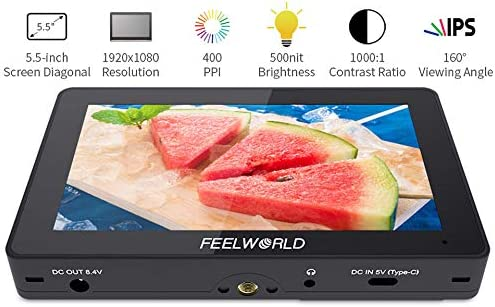 Feelworld F5 Pro 5.5 Inch on DSLR Camera Field Monitor,External Monitor Touch Screen IPS FHD1920x1080 4K HDMI Video Focus Assist for Gimbal Rig Support for Transmitter