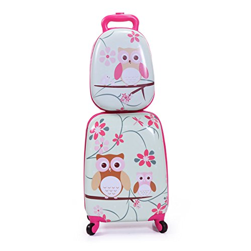 (LAZYMOON Kids Carry On Luggage Set 2Pc 12