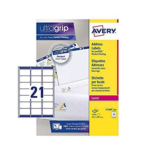 Avery L7160-250 - Etiquetas de dirección (21 etiquetas por hoja, 250 hojas, fáciles de usar), blanco