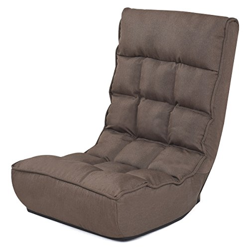 Giantex Floor Chair Sleeper 4-Position Adjustable Angle Folding Lazy Sofa Cushioned Couch Lounger Easy for Storage, Brown by Giantex