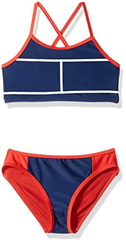 Tommy Hilfiger Little Girls' Two-Piece Swimsuit, Flag Blue, 6 ()