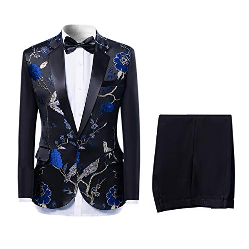 Mens 2-Piece Suits One Button Floral Blazer Dinner Jacket and Pants Blue
