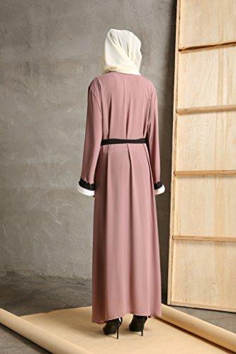 YI HENG MEI Women's Elegant Modest Muslim Islamic Full Length Lace Hem Abaya Dress with Belt,Pink Purple,XL by YI HENG MEI (Image #1)