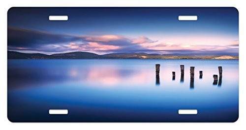 zaeshe3536658 Nature License Plate, Wooden Pier Tops Remain in Lake with Sunset Mirror Image Out Different Perspectives, High Gloss Aluminum Novelty Plate, 6 X 12 Inches, RoyaBlue by zaeshe3536658