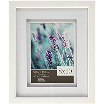 gallery solutions white wood wall frame with white airfloat mat 5x7 inches