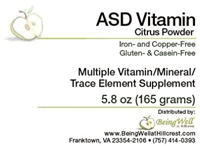 ASD Vitamin Powder for Children with Autism Spectrum Disorder Multiple Vitamin/mineral/trace Element Supplement- 5.8 oz
