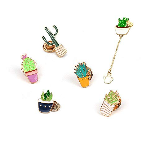 Plant Brooches Enamel Pin for Backpacks Jackets Clothes Bags Badge Womens Girls Childrens Cactus Cartoon Lapel