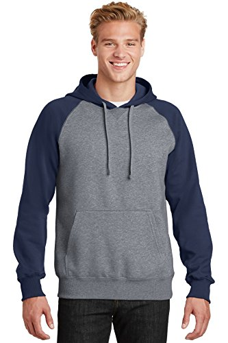 Sport Tek Men's Soft Pullover Hooded Sweatshirt - True Navy/ Vintage Heather ST267 2XL ()