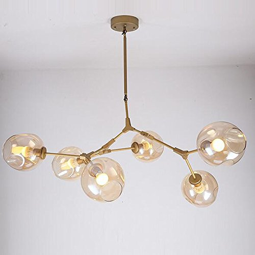 New Modern Amber Glass Pendant Light 6 Lindsey DIY Design Dendriform Chandeliers Ceiling Lamp Copper (Lindsey 6 Light Pendant)