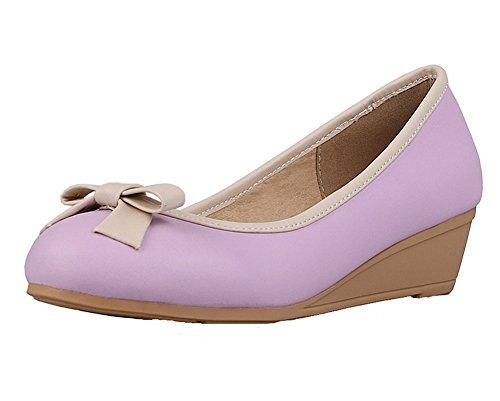 Damen Rund Zehe Ziehen auf Blend-Materialien Rein Niedriger Absatz Pumps Schuhe, Silber, 35 AllhqFashion