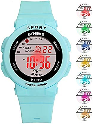 Digital Watch for Women, Women's and Girls' Watch Waterproof Watch Sports Watch with 7 Colors Backlight (Turquoise)