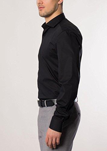 ETERNA long sleeve Shirt SLIM FIT Stretch uni negro