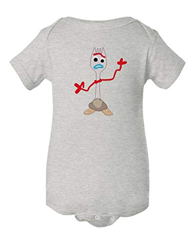 Ash Infant T-shirt - TMB APPAREL Forkie's Here Forky Forkie Toy Little Infant Baby Short Sleeve Bodysuit (Ash, 6M)