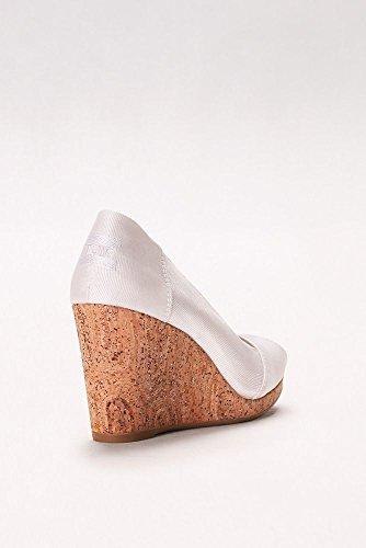 Davids Bridal Toms Grosgrain Wedges Style 100010186 White vJ4VbdA8b