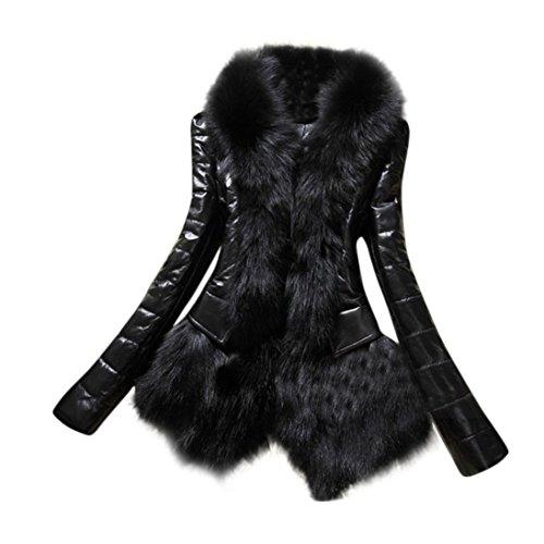 Fur Leather Coat - Tsmile Autumn Winter Fashion Women Faux Fur Collar Coat Parka Overcoat Warm Leather Thick Jacket (2X-Large, Black)