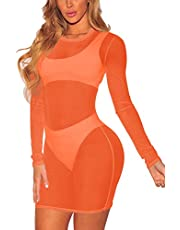 TEWWEY Women's Sheer Mesh Long Sleeve Beach Cover Up Dress Swimwear Bikini See Through Mini Dress