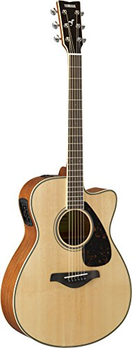Yamaha FSX820C Small Body Solid Top Cutaway Acoustic-Electric Guitar, Natural