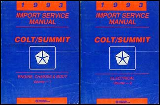 Vista Dodge Wagon Colt (1993 Colt Vista & Summit Wagon Repair Shop Manual Original 2 Volume Set)