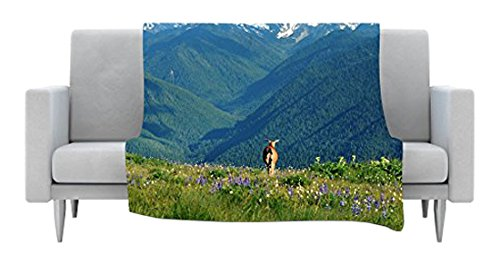 40 x 30 Kess InHouse Robin Dickinson Natures Calling Blue Green Fleece Throw Blanket