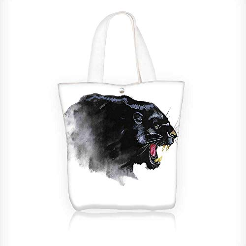 Ladies canvas tote bag Jaguar Safari Wild Looking Fierce with Teeths Art Black and White reusable shopping bag zipper handbag Print Design W11xH11xD3 INCH
