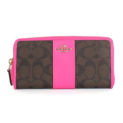 COACH Signature PVC Accordion Zip Wallet F54630 Brown/Bright Fuchsia by Coach