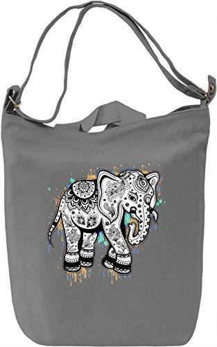 Ethnic Elephant Borsa Giornaliera Canvas Canvas Day Bag| 100% Premium Cotton Canvas| DTG Printing|