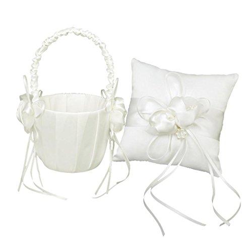 Agordo Wedding Ivory Satin Pearl Beaded Ring Bearer Pillow Cushion Flower Baskets