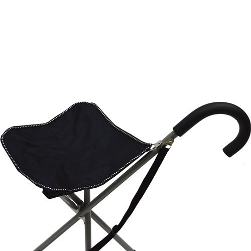 Folding Cane Chair Walking Stick With Stool In Black