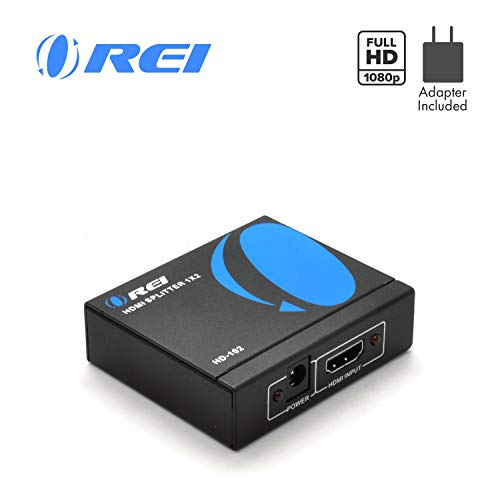 1x2 HDMI Splitter by OREI - 1 Port to 2 HDMI Display - Powered Splitter Ver 1.3 Certified for Full HD 1080P & 3D Support (One Input To Two ()