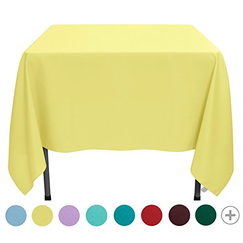 Coffee Classic Table Square (VEEYOO 70 inch Square Solid Polyester Tablecloth for Wedding Restaurant Party Coffee Shop Picnic Christmas, Yellow)