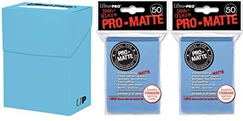(Ultra-Pro Light Blue Deck Box + 100 Pro-Matte Sleeves (Set, fits Magic/MTG, Pokemon Cards))