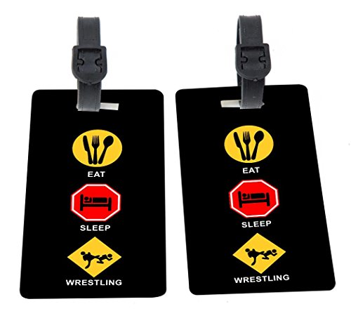 Eat Sleep Wrestling Design Plastic Flexi Luggage Identifier Tags + Strap Closure by Rikki Knight