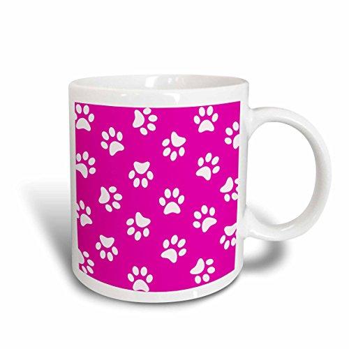 3dRose mug_161527_1 Hot Pink and White Paw Print Pattern Girly Pawprints Cute Cartoon Animal Eg Dog Or Cat Footprints Ceramic Mug, 11-Ounce