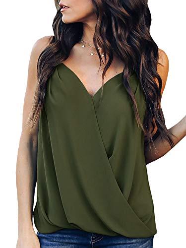 (Women's Sexy V Neck Halter Spaghetti Strap Sleeveless Cami Tank Top Green)