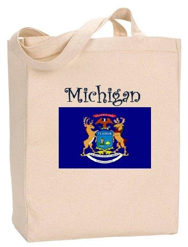 MICHIGAN - FLAG - State Series - Natural Canvas Tote Bag with - Shopping City Traverse Michigan