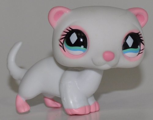 Ferret #520 (White, Aqua Eyes, Pink Feet & Nose) - Littlest Pet Shop (Retired) Collector Toy - LPS Collectible Replacement Single Figure - Loose (OOP Out of Package & (Littlest Pet Shop Collectors)