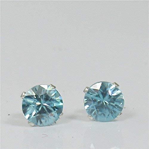 Blue Zircon 5mm Natural Gemstone Stud Earrings Sterling Silver