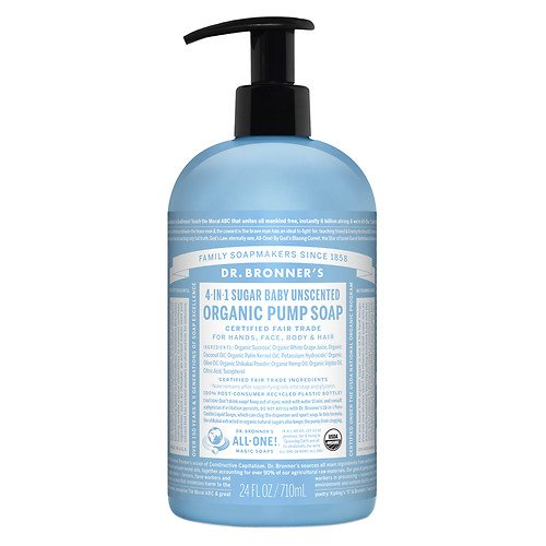Dr. Bronner's 4-IN-1 Sugar Baby Organic Pump Soap, Unscen...