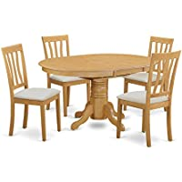 East West Furniture AVAT5-OAK-C 5 Piece Kitchen Dinette Table and 4 Chairs Set